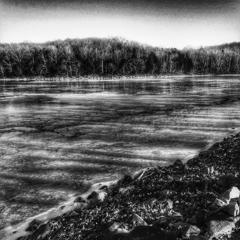 Icy New Years Day at Lake Barkley in Black and White